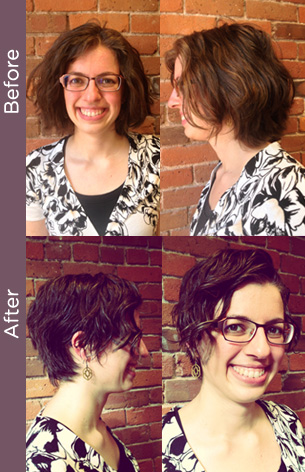 curly hair before & after