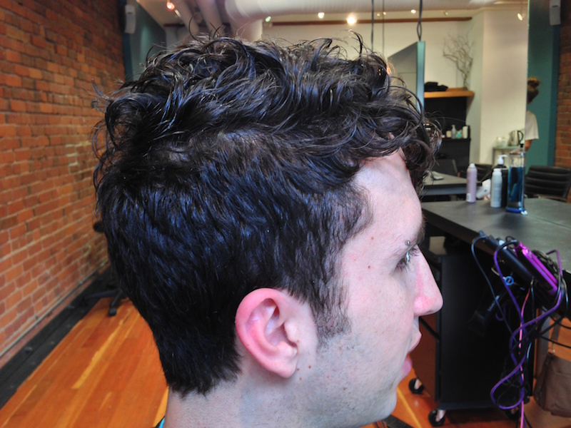 Curly male hair